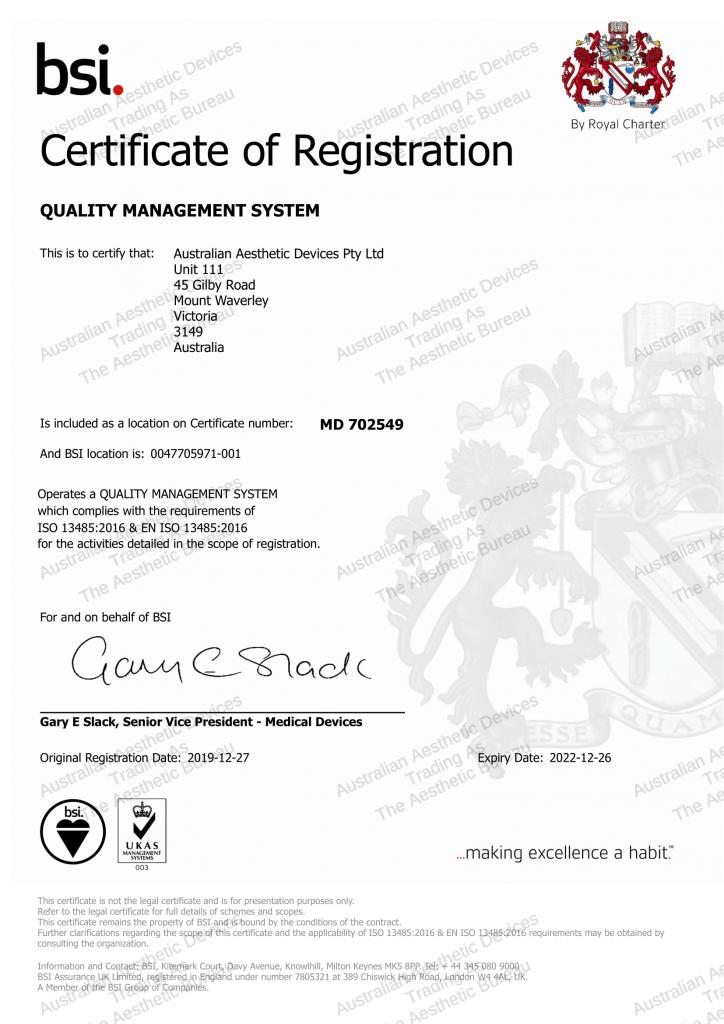 BSI Certification of Registeration